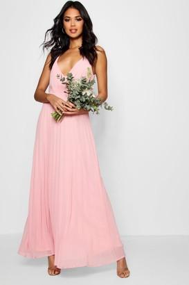 boohoo Boutique Pleated Maxi Bridesmaid Dress