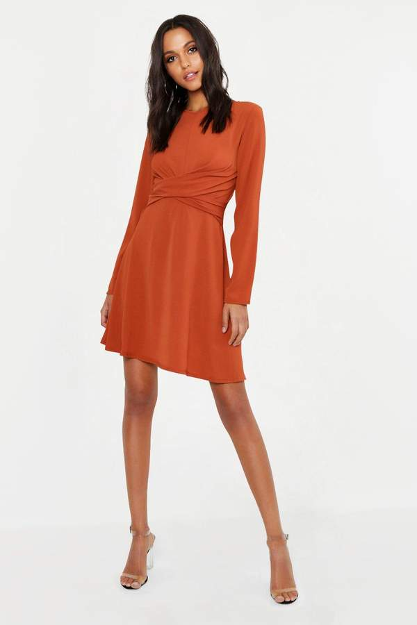 b8de06167e3fe boohoo Brown Wrap Dresses - ShopStyle