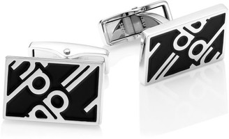 Dunhill Luggage Canvas Sterling Silver & Black Enamel Cufflinks