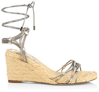 Alexandre Birman Leona Metallic Leather Espadrille Sandals