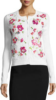 Oscar de la Renta Pixel-Embroidered Lace Cardigan, White/Multi