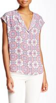 Daniel Rainn Short Sleeve Knit Back Woven Blouse (Petite)