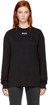 MSGM Black Long Sleeve Logo T-shirt