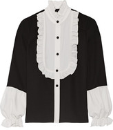 Anna Sui Two-tone Ruffle-trimmed Crepe Blouse - Black