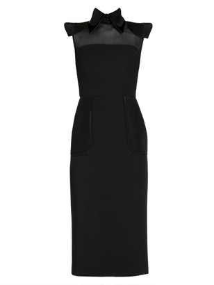 Fendi Mesh Insert Wool Gabardine Sleeveless Dress