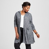 Ava & Viv Women's Plus Size Hooded Cozy Cardigan Black