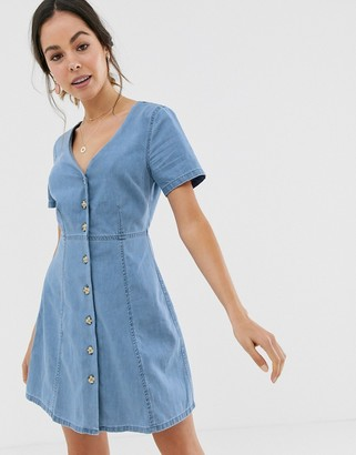 Asos Design DESIGN denim tea dress with mock horn buttons in blue