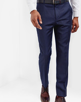 Ted Baker Micro Check Wool Trousers Blue