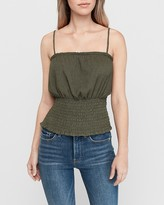 Express Textured Smocked Square Neck Cami
