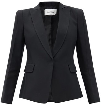 Valentino Single-breasted Silk-twill Jacket - Black
