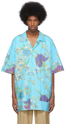 Gucci Blue Paper Effect Paradise Lost Bowling Shirt