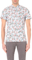 HUGO BOSS Floral-printed short-sleeved cotton shirt