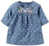 Carter's Baby Girl Polka-Dot Embroidered Chambray Top