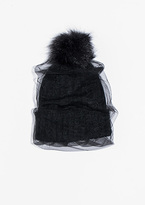 Missy Empire Davia Black Netted Pom Hat