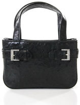 MCM Black Ostrich Leather Jeweled Buckle Detail Small Boxy Satchel Handbag