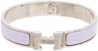 Hermes Palladium-Plated & Purple Enamel Clic-Clac H Bracelet