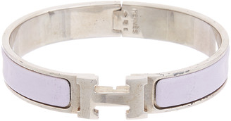 Hermes Palladium-Plated & Purple Enamel Narrow Clic-Clac H Bracelet