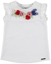 Mayoral Sleeveless Floral Stretch Jersey Tee, White, Size 3-7