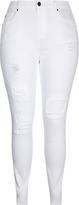 City Chic Patched Up White Skinny Harley Jean