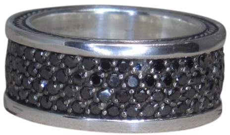 David Yurman 925 Sterling Silver with Diamond Band Ring Size 9.5