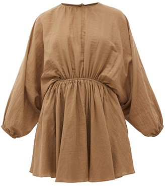 Loup Charmant Kitta Batwing-sleeve Organic Cotton Mini Dress - Brown