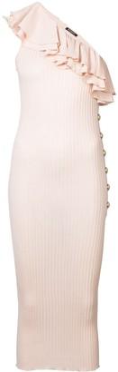 Balmain Ruffle-Trimmed Knit Dress