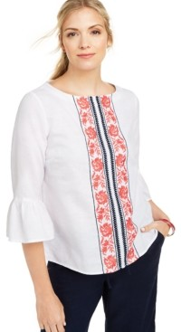 Charter Club Embroidered Bell-Sleeve Linen-Blend Top, Created for Macy's