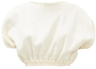 Matteau - Linen-blend Cropped Blouse - Womens - Ivory