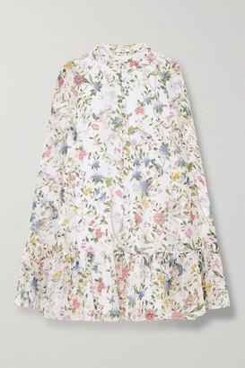 Erdem Constantine Cape-effect Floral-print Silk-voile Mini Dress - White