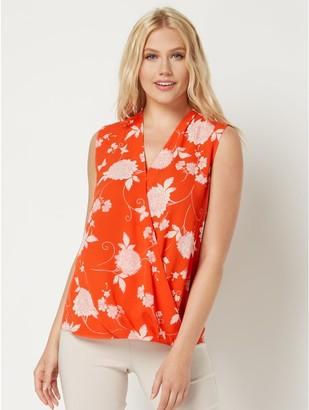 M&Co Roman Originals floral sleeveless wrap top