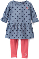 U.S. Polo Assn. Blue Polka Dot Ruffle-Hem Tee & Pink Leggings - Toddler