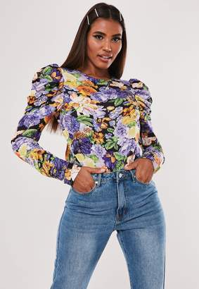 Missguided Purple Floral Puff Sleeve Open Back Bodysuit