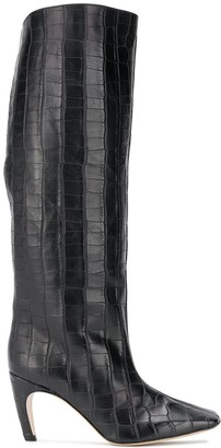 Gia Couture Croc-Effect Knee-Length Boots