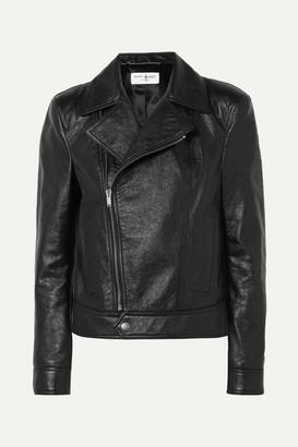 Saint Laurent Cropped Textured-leather Biker Jacket - Black