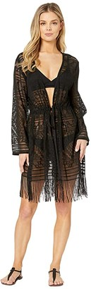 Dotti Bemus Fringed Edge Kimono Cover-Up (Black) Women's Swimwear