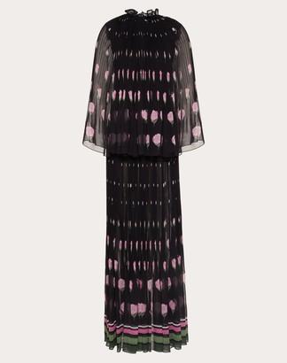 Valentino Printed Georgette Evening Dress Women Multicoloured Silk 100% 38