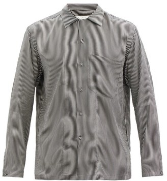 Umit Benan B+ - Cuban-collar Striped Silk Shirt - Black White