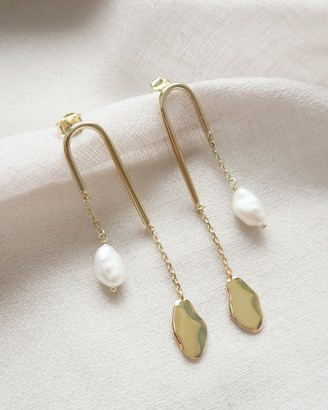 Wanderlust + Co Kindred Pearl Drop Gold Earrings