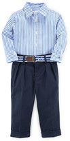 Ralph Lauren Striped Poplin Shirt w/ Pleated Pants, Blue, Size 9-24 Months