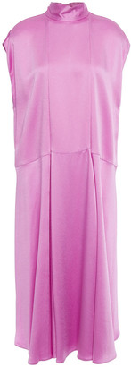 Valentino Tie-neck Pleated Hammered-satin Midi Dress