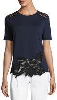 Elie Tahari Viviana Short-Sleeve Lace-Inset Knit Top, Blue/Black