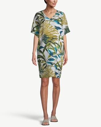 Chico's Linen Palm-Print Tunic Wedge Dress