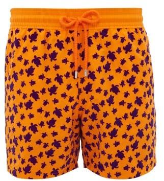 Vilebrequin Moorea Flocked Turtle-print Swim Shorts - Orange Multi