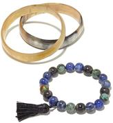 B.E. Multigemstone Stretch and Watusi Horn Bangle 3-piece Bracelet Set