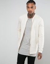 Asos Longline Bomber Jacket In Off White