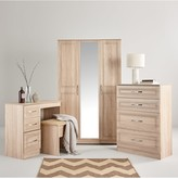 Swift Winchester Ready Assembled 4 Piece Package - 3 Door Mirrored Wardrobe, Chest of 5 Drawers and 2 Bedside Chests