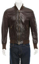 Bally Leather Rib Knit-Trimmed Jacket