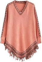 Futurino Women's Warm Tassel Poncho Sweater Cape Shawls Batwing Sleeves