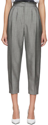 Alexander McQueen Grey Pleated Peg Trousers