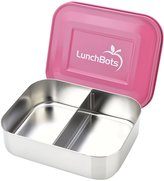 LunchBots Duo Stainless 2-Compartment Container, Pink Lid
